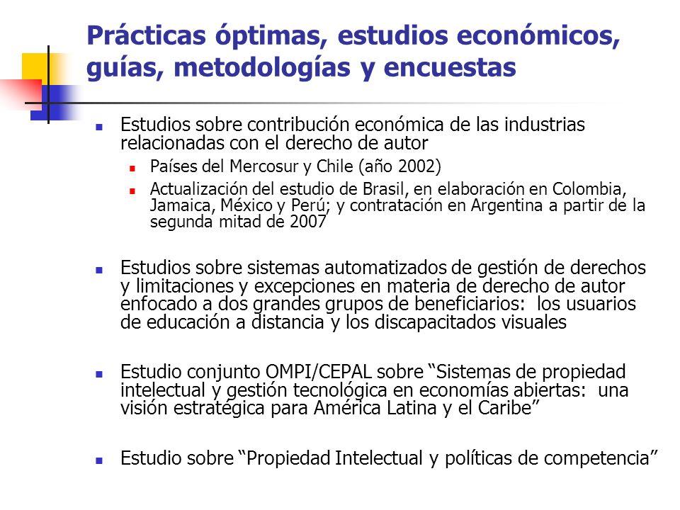 Prácticas óptimas, estudios económicos, guías, metodologías y encuestas