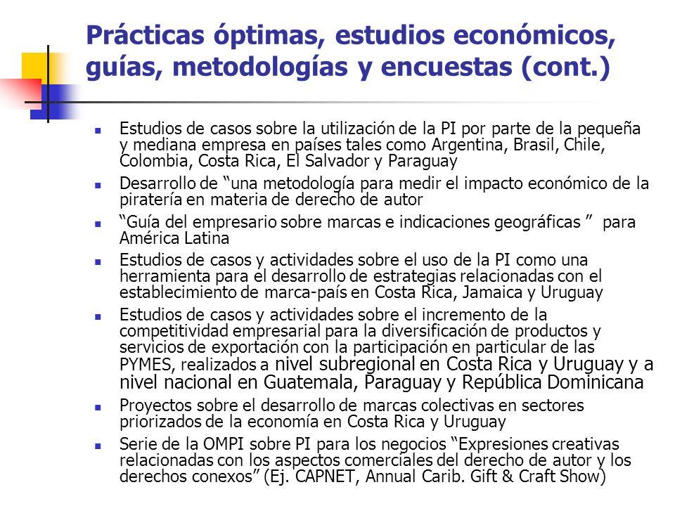 Prácticas óptimas, estudios económicos, guías, metodologías y encuestas (cont.)