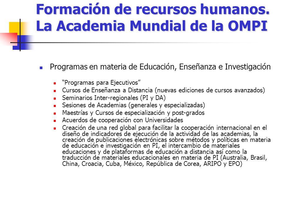 Formación de recursos humanos. La Academia Mundial de la OMPI