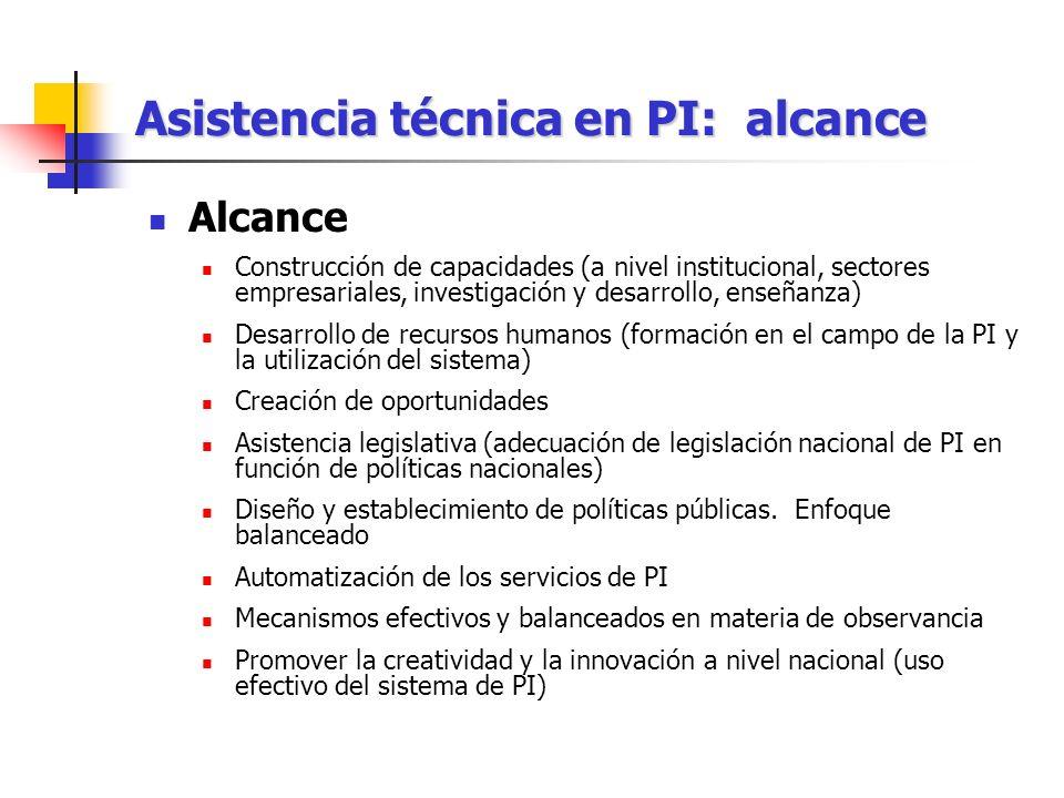 Asistencia técnica en PI: alcance