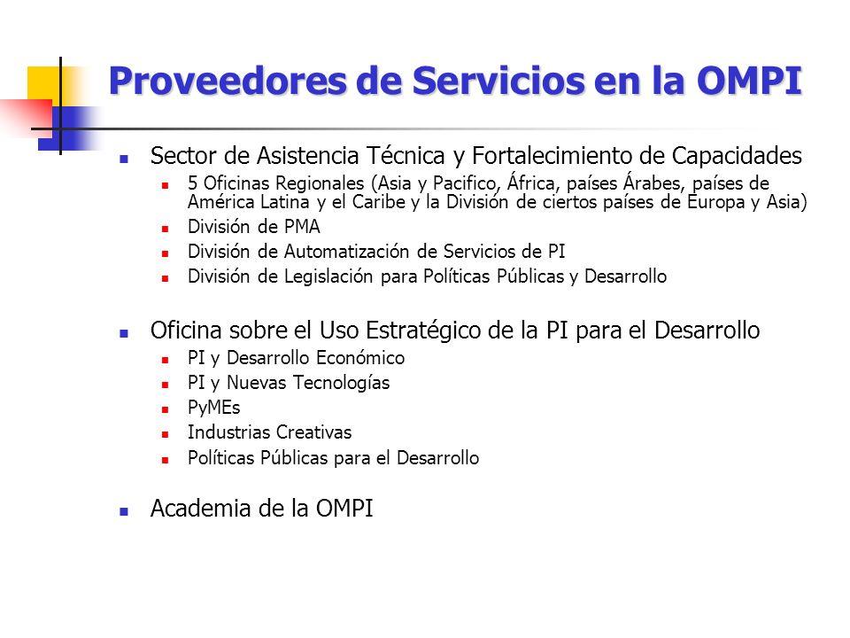 Proveedores de Servicios en la OMPI