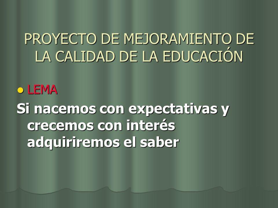PROYECTO DE MEJORAMIENTO DE LA CALIDAD DE LA EDUCACIÓN