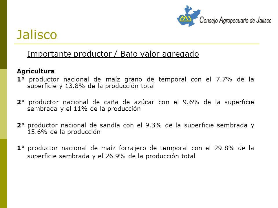 Jalisco Importante productor / Bajo valor agregado Agricultura