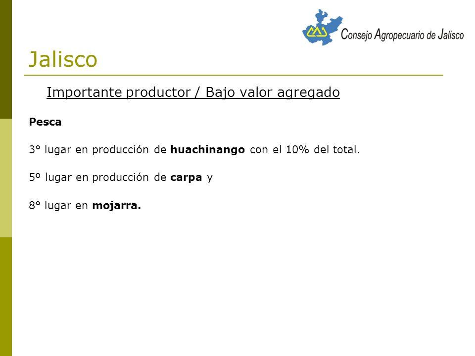 Jalisco Importante productor / Bajo valor agregado Pesca