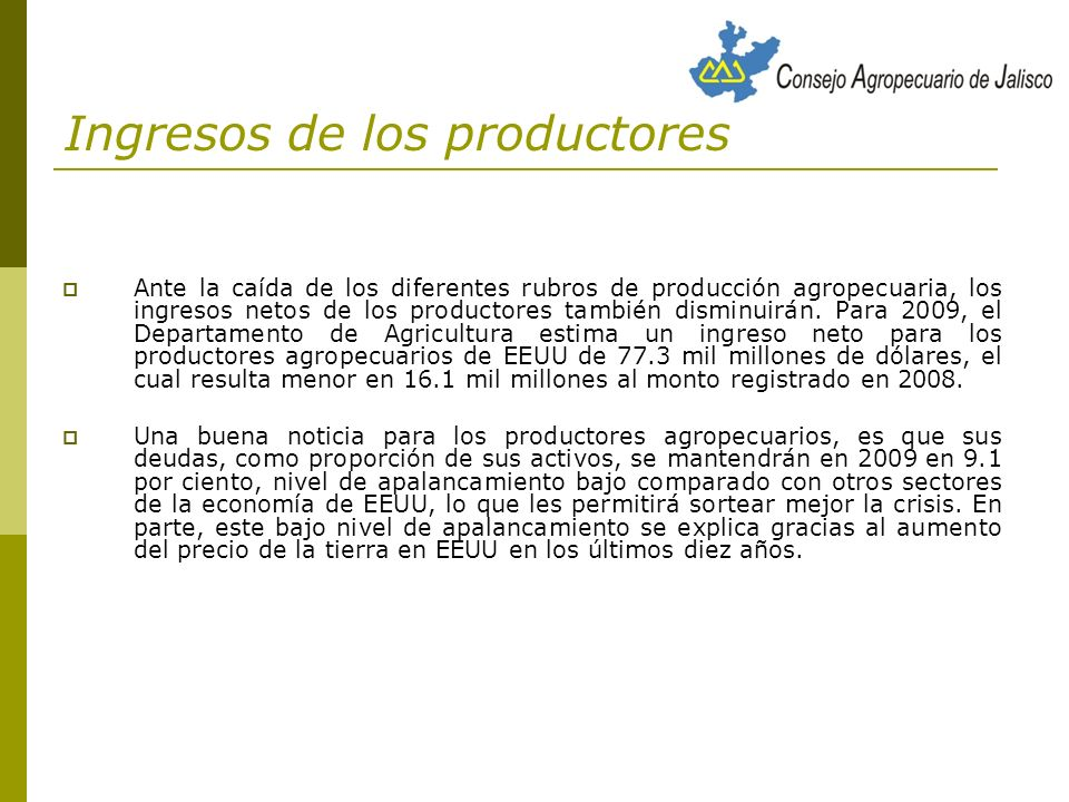 Ingresos de los productores