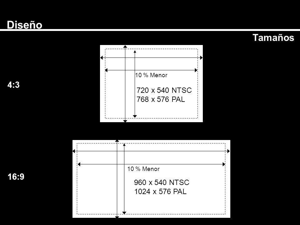 Diseño Tamaños 4:3 16:9 720 x 540 NTSC 768 x 576 PAL 960 x 540 NTSC