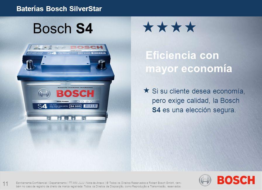 Bosch S4 Eficiencia con mayor economía Baterías Bosch SilverStar
