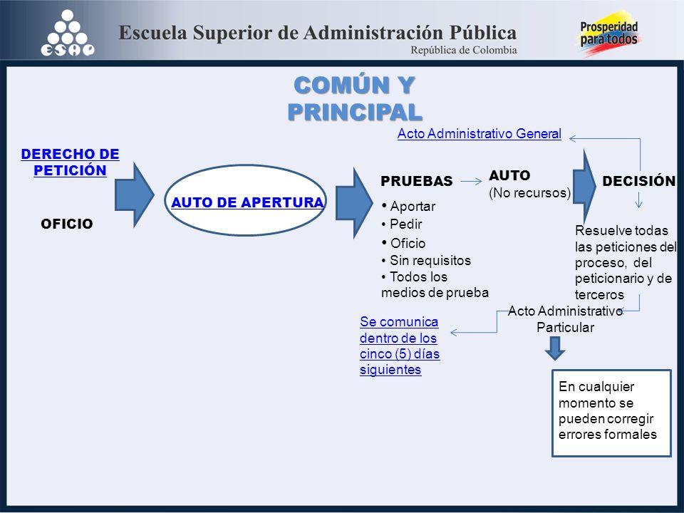 COMÚN Y PRINCIPAL Aportar Oficio Acto Administrativo General