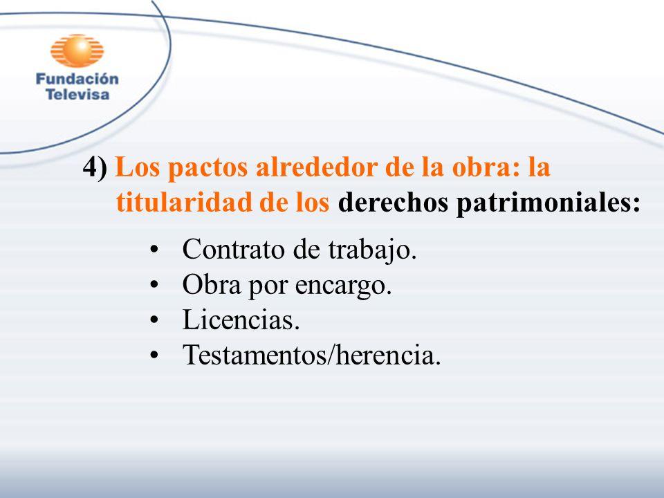 4) Los pactos alrededor de la obra: la titularidad de los derechos patrimoniales: