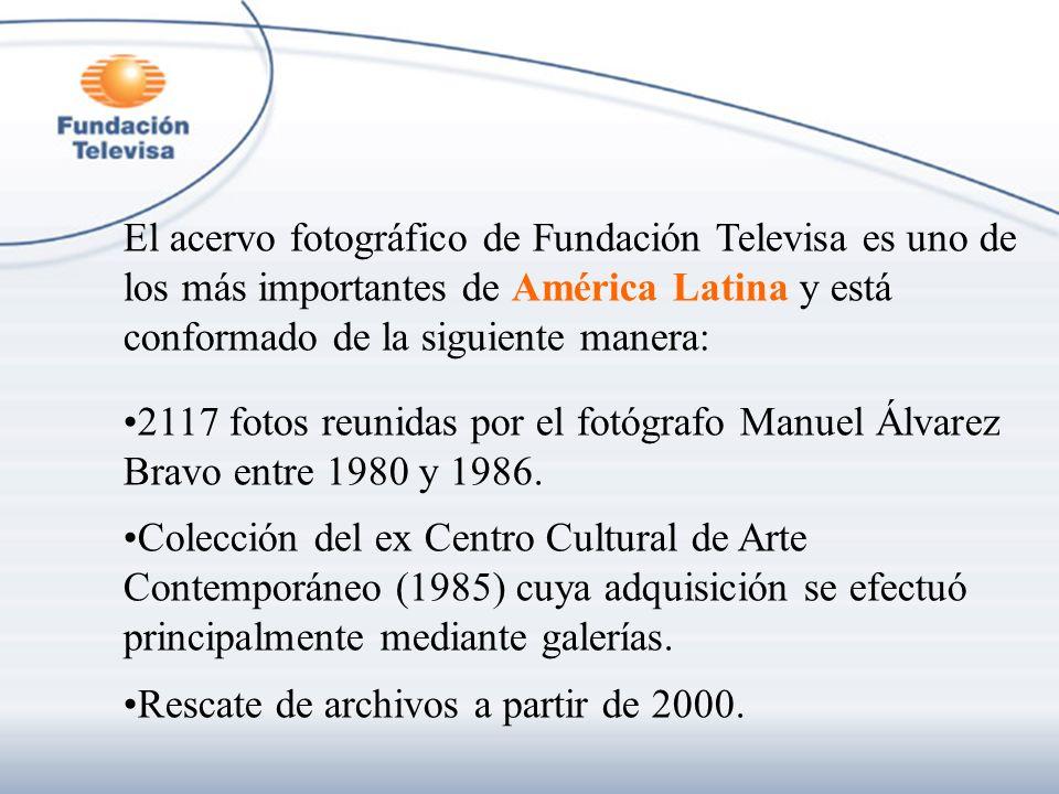 El acervo fotográfico de Fundación Televisa es uno de los más importantes de América Latina y está conformado de la siguiente manera: