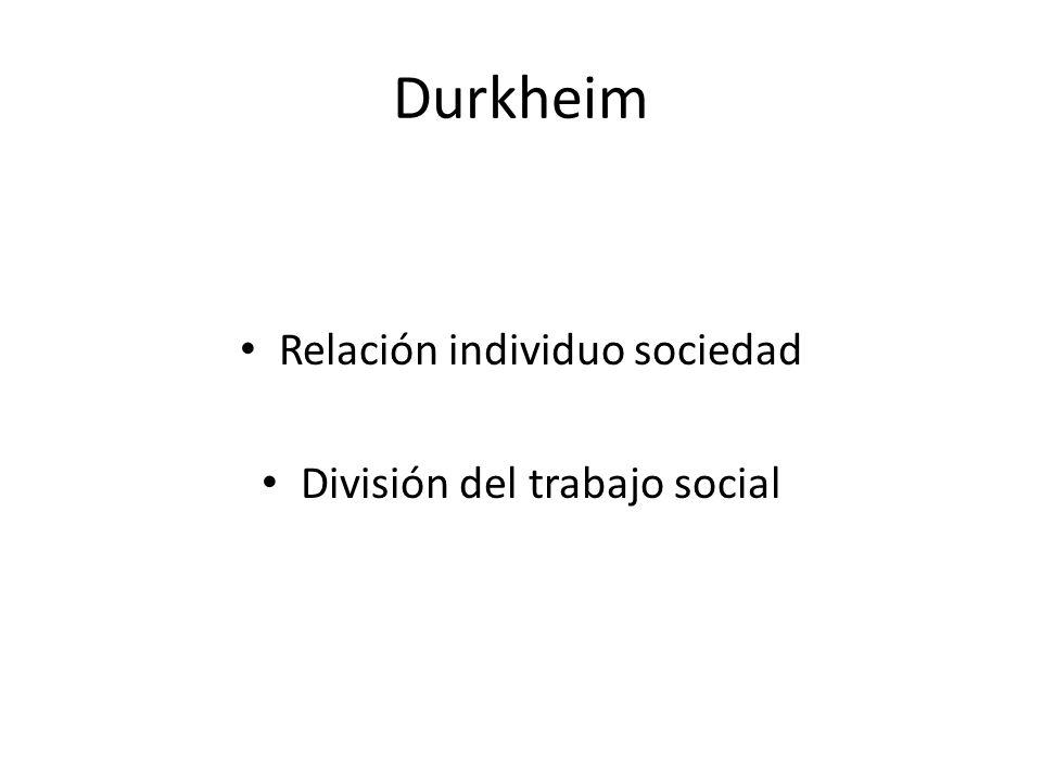 Durkheim Relación individuo sociedad División del trabajo social
