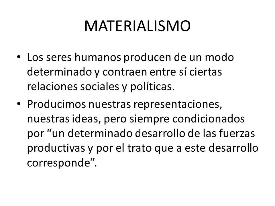 MATERIALISMO Los seres humanos producen de un modo determinado y contraen entre sí ciertas relaciones sociales y políticas.