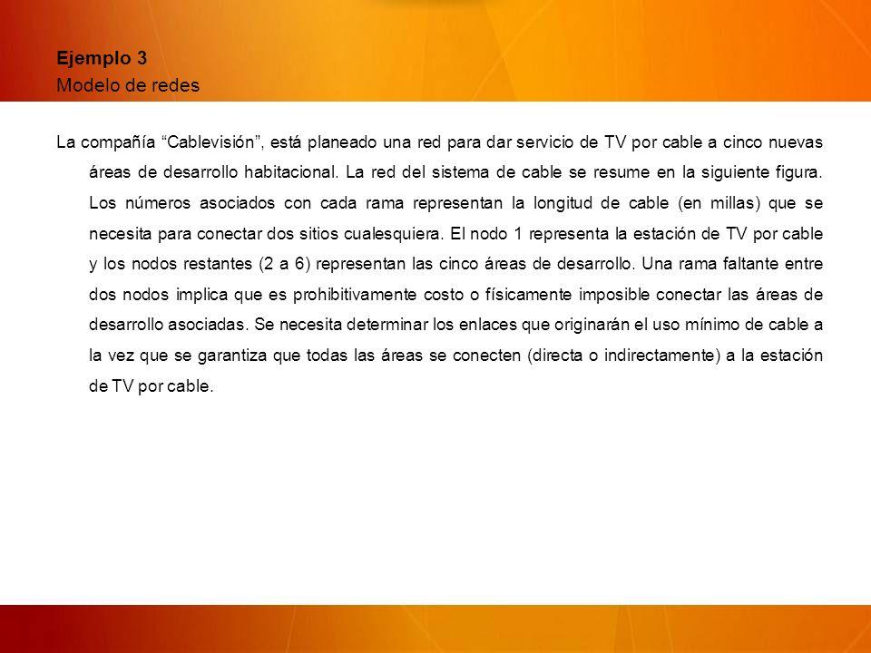 Ejemplo 3 Modelo de redes