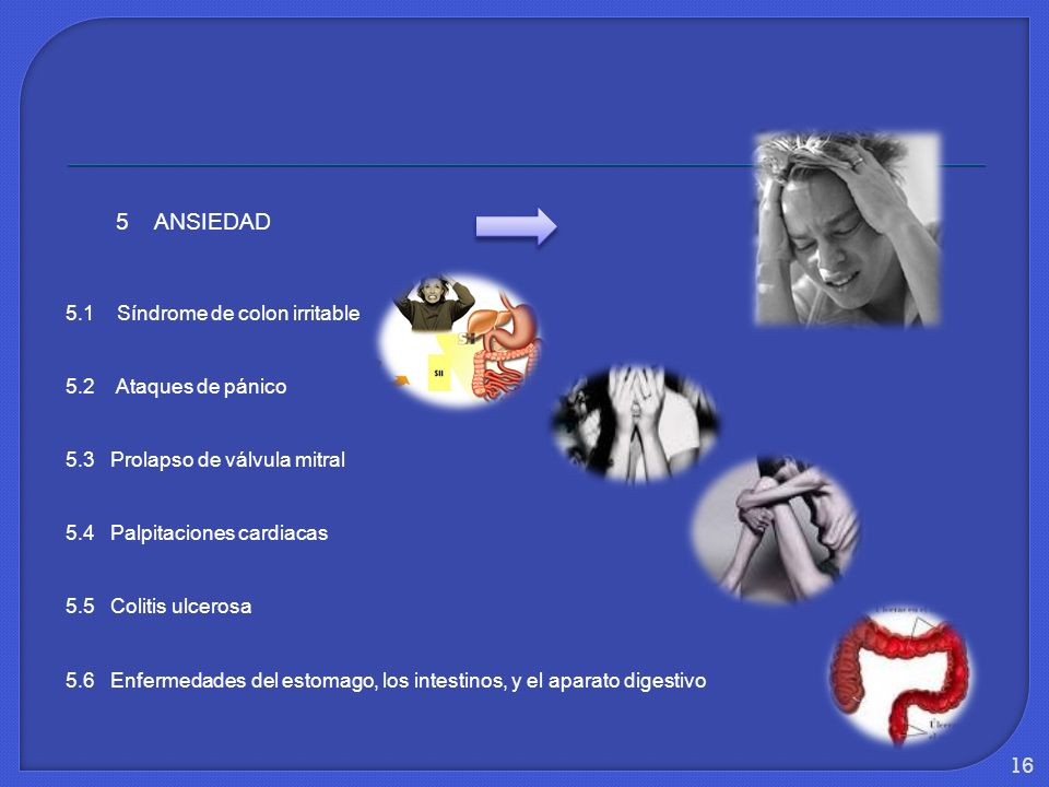 5 ANSIEDAD 5.1 Síndrome de colon irritable 5.2 Ataques de pánico