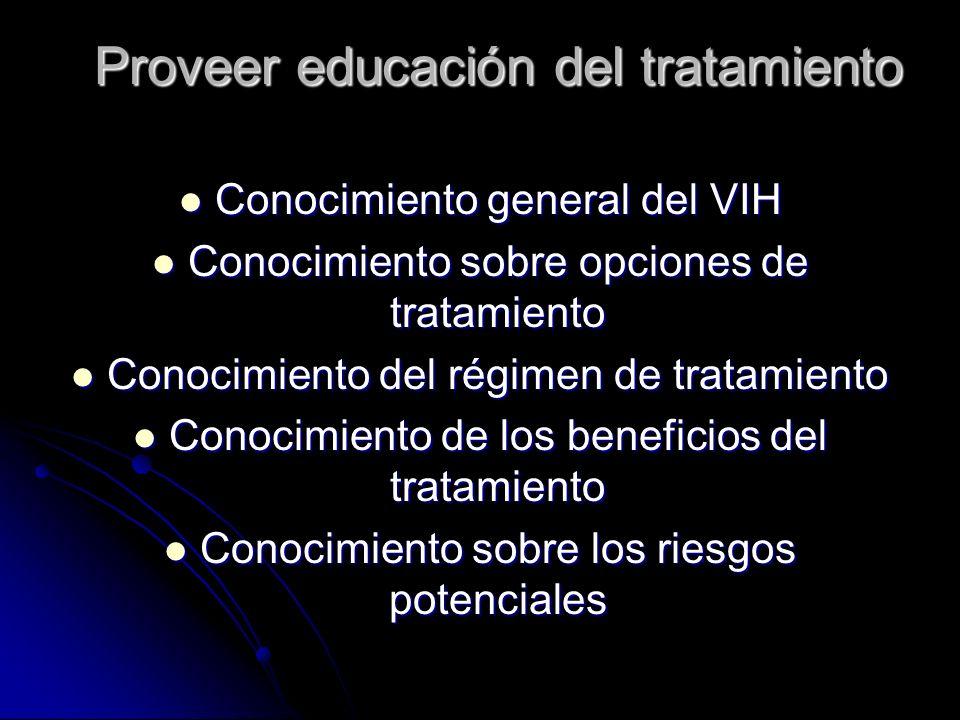 Proveer educación del tratamiento