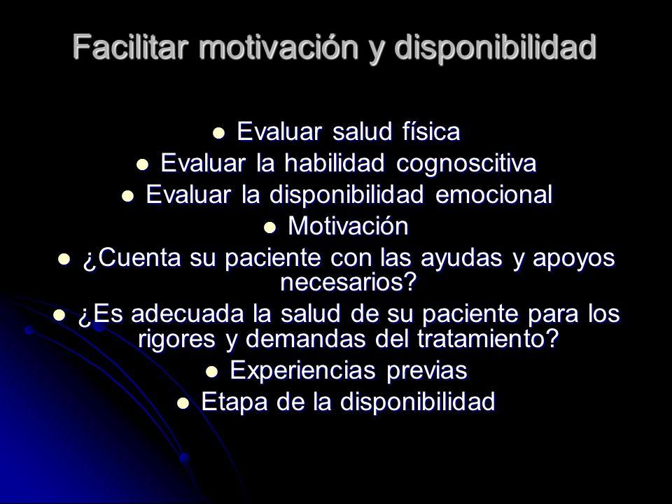 Facilitar motivación y disponibilidad