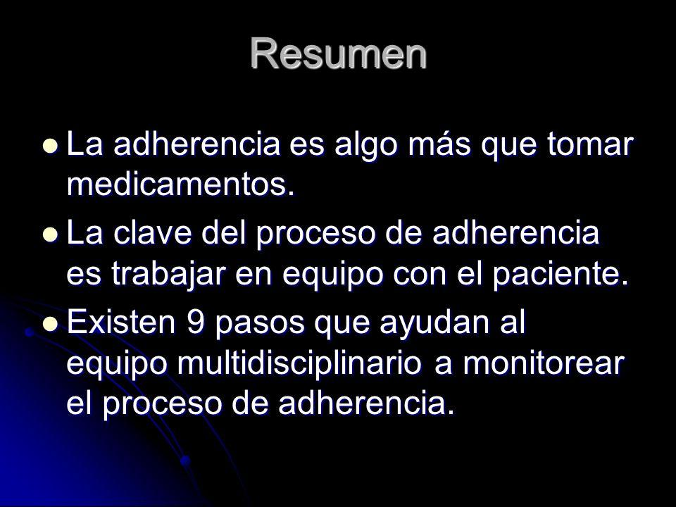 Resumen La adherencia es algo más que tomar medicamentos.