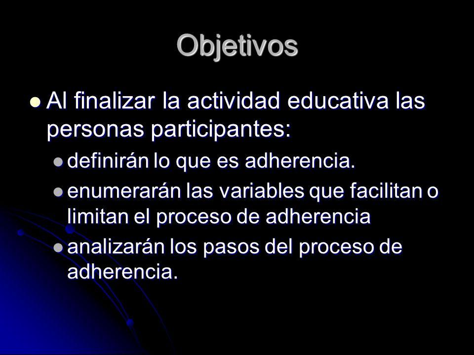 Objetivos Al finalizar la actividad educativa las personas participantes: definirán lo que es adherencia.