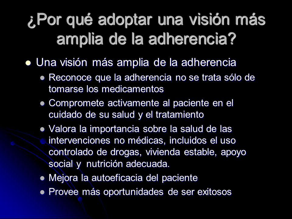 ¿Por qué adoptar una visión más amplia de la adherencia