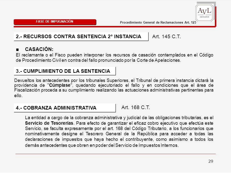 Procedimiento General de Reclamaciones Art. 123