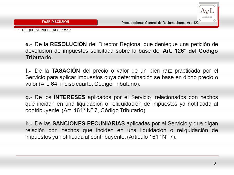 FASE DISCUSIÓN Procedimiento General de Reclamaciones Art. 123. 3.- DE QUE SE PUEDE RECLAMAR.