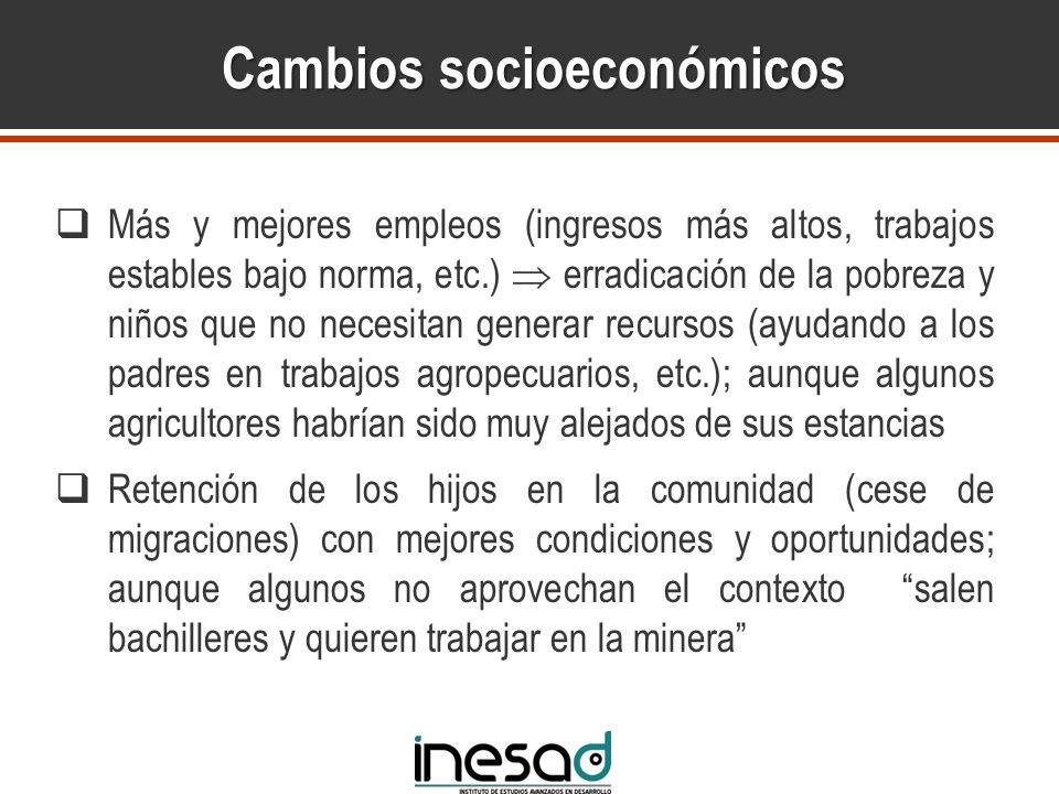 Cambios socioeconómicos