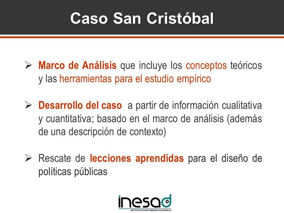Caso San Cristóbal Marco de Análisis que incluye los conceptos teóricos y las herramientas para el estudio empírico.