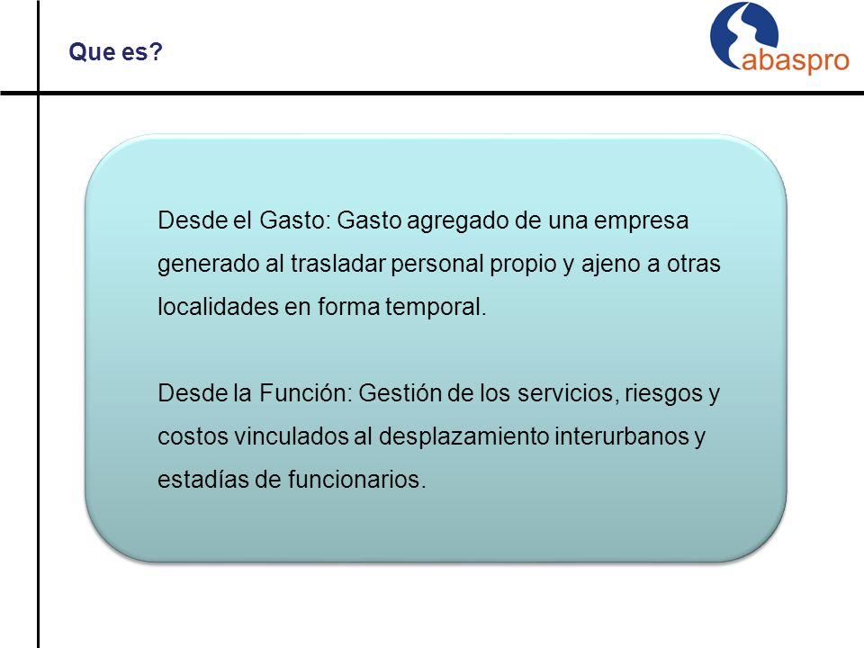Que es Desde el Gasto: Gasto agregado de una empresa generado al trasladar personal propio y ajeno a otras localidades en forma temporal.