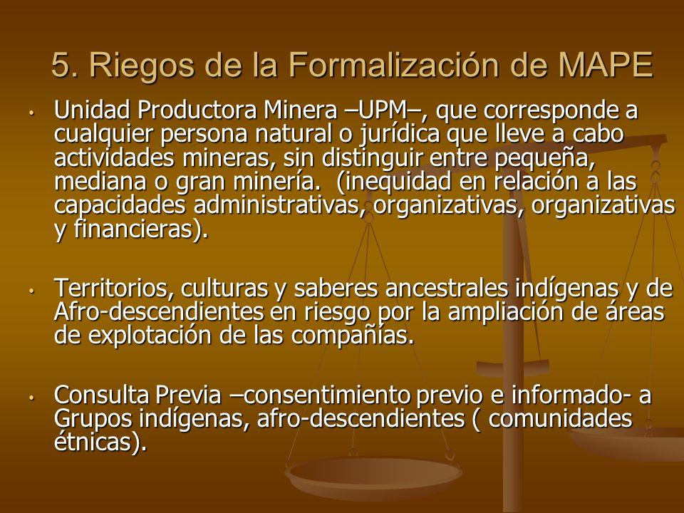 5. Riegos de la Formalización de MAPE