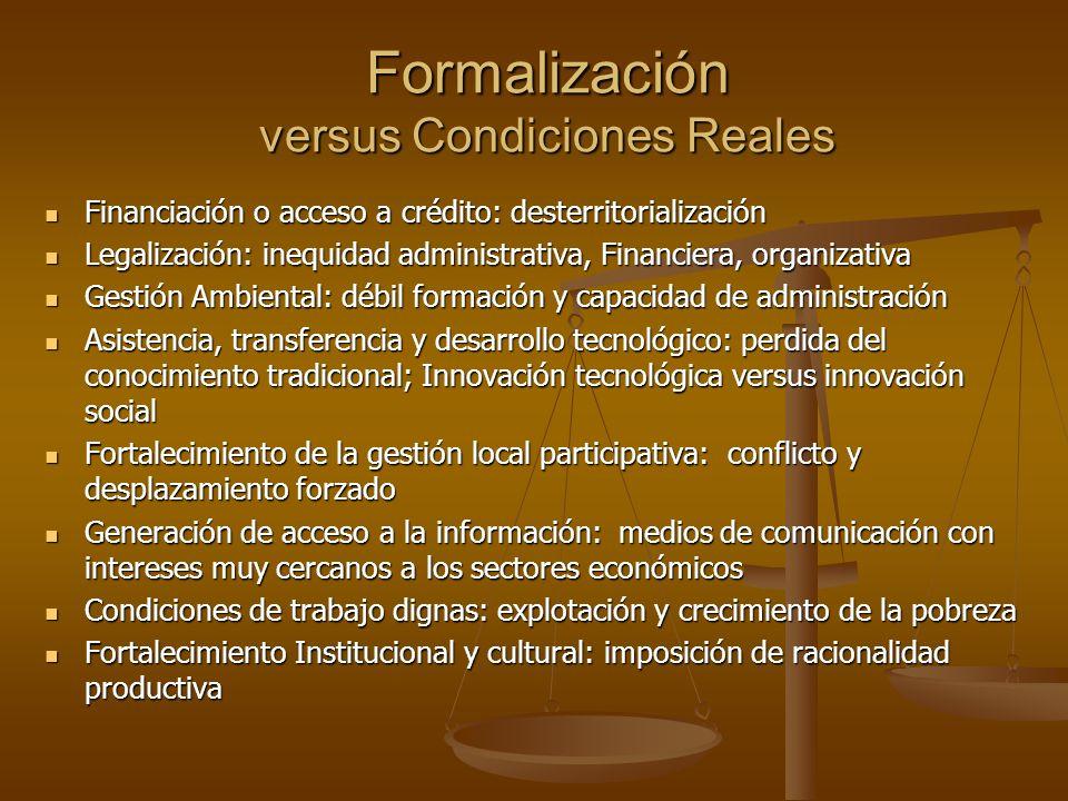 Formalización versus Condiciones Reales