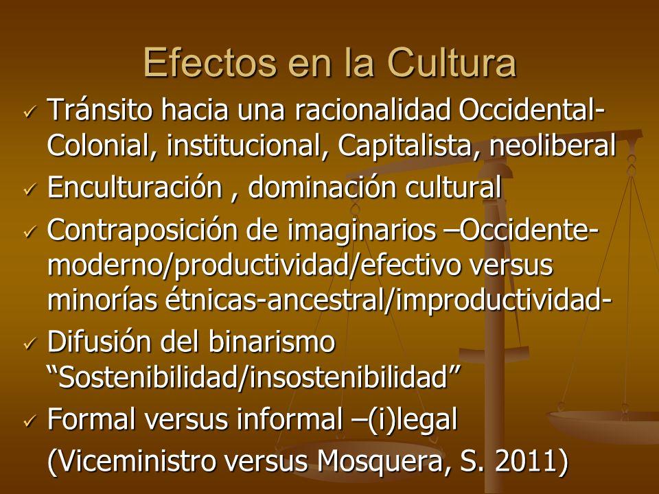 Efectos en la Cultura Tránsito hacia una racionalidad Occidental-Colonial, institucional, Capitalista, neoliberal.