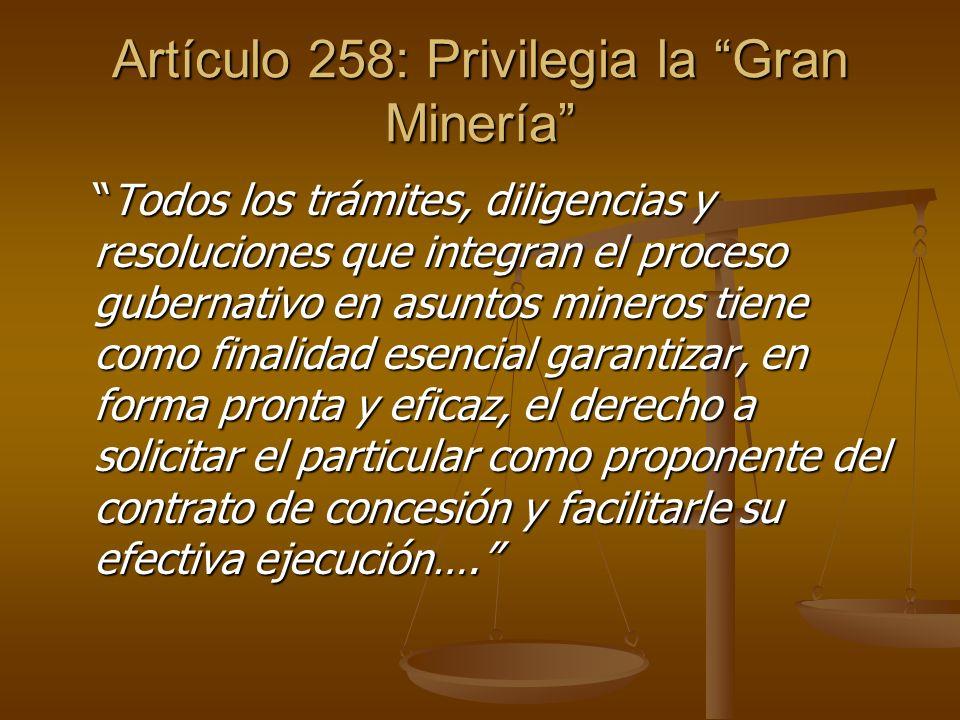 Artículo 258: Privilegia la Gran Minería