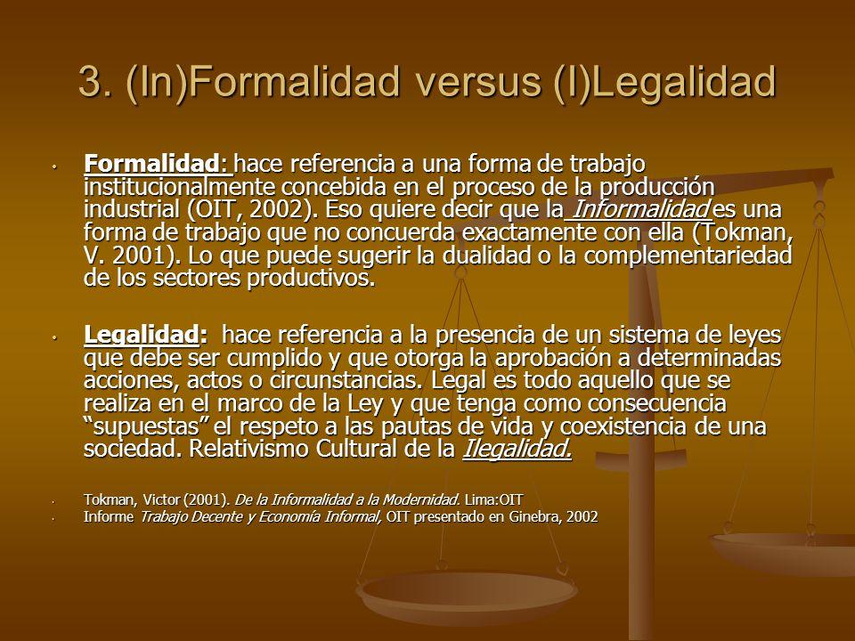 3. (In)Formalidad versus (I)Legalidad