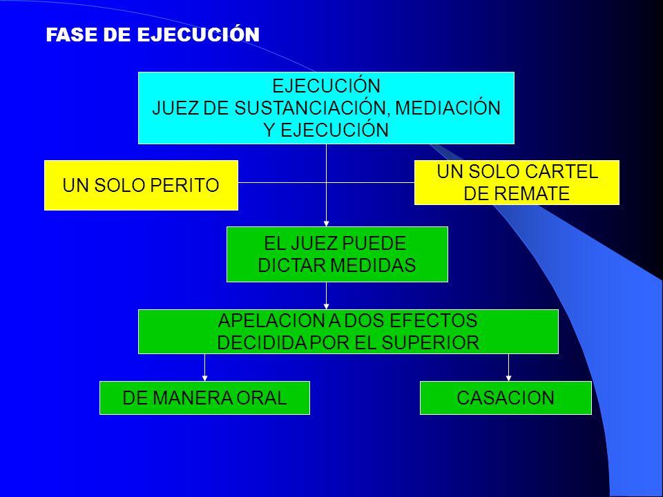 JUEZ DE SUSTANCIACIÓN, MEDIACIÓN Y EJECUCIÓN