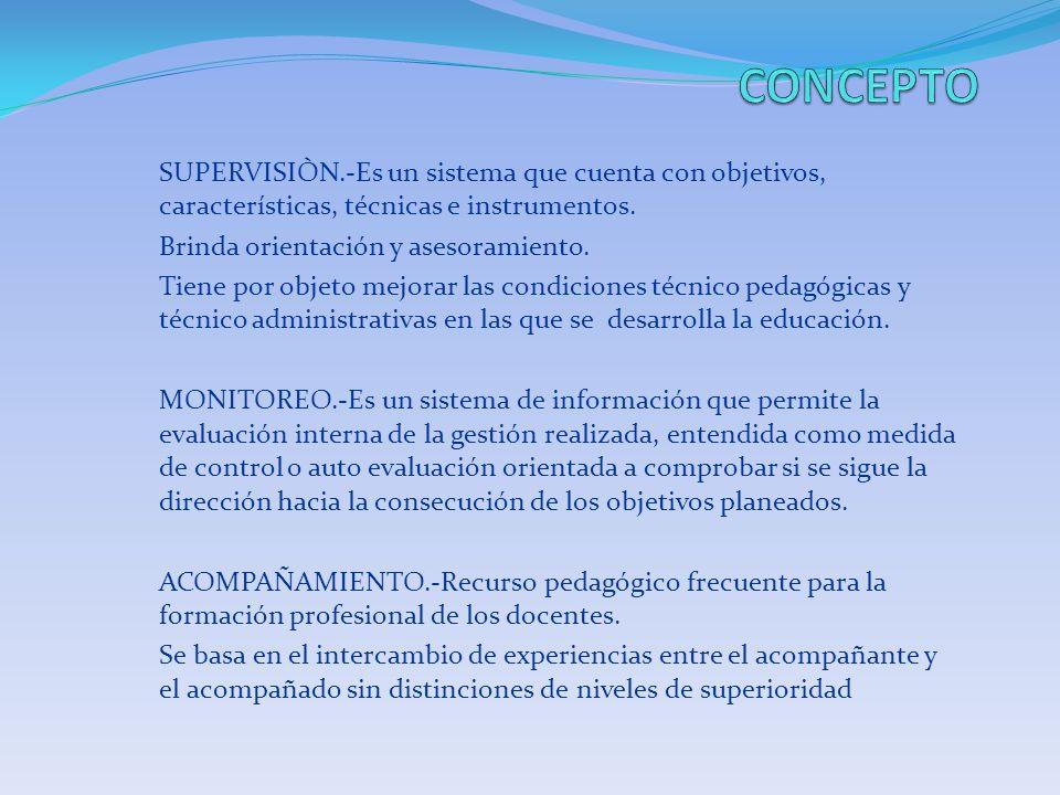 CONCEPTO SUPERVISIÒN.-Es un sistema que cuenta con objetivos, características, técnicas e instrumentos.