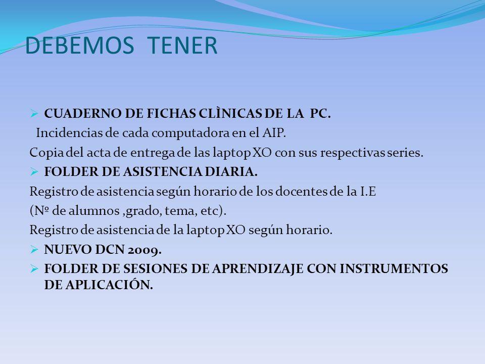 DEBEMOS TENER CUADERNO DE FICHAS CLÌNICAS DE LA PC.