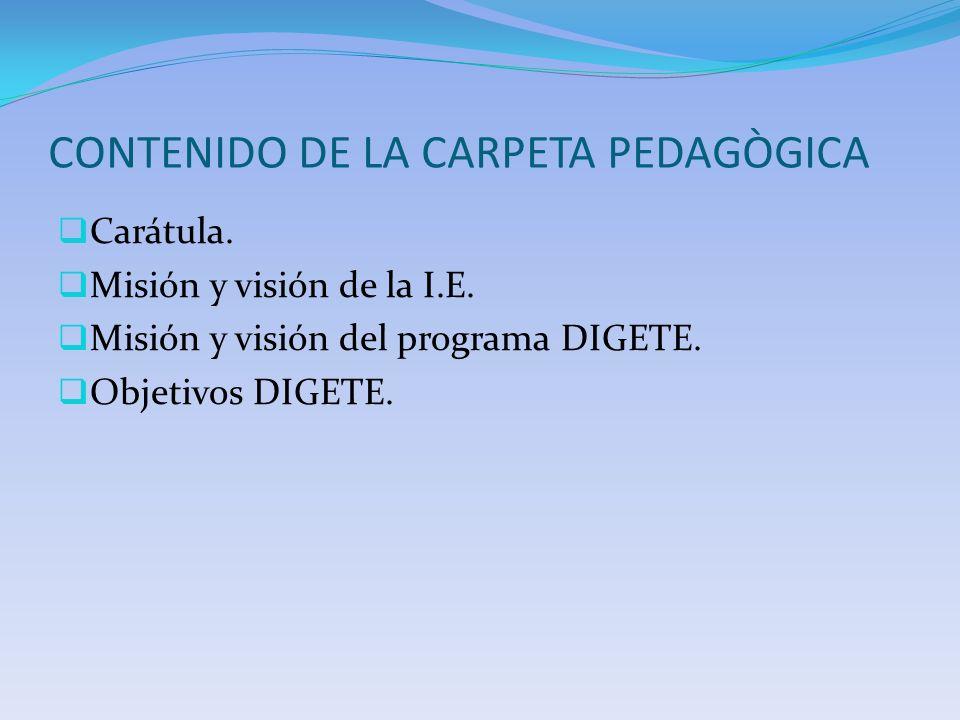 CONTENIDO DE LA CARPETA PEDAGÒGICA