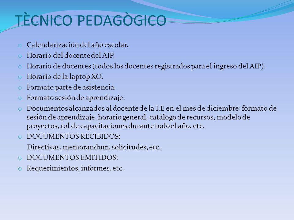 TÈCNICO PEDAGÒGICO Calendarización del año escolar.