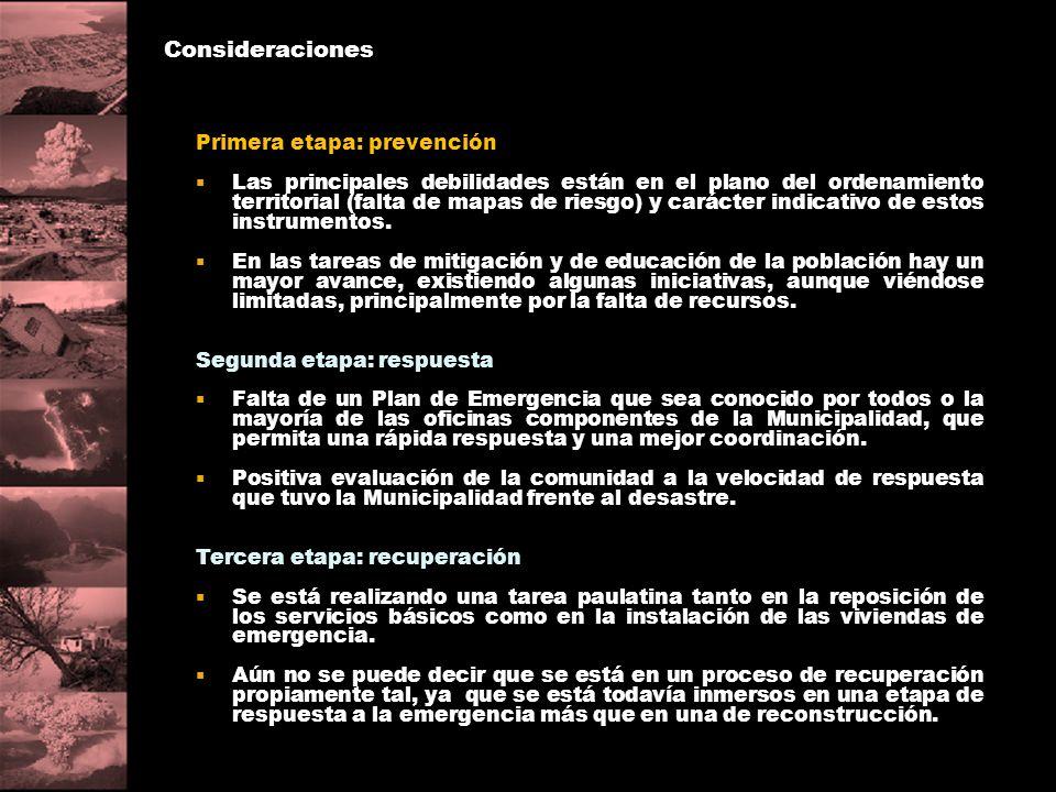 Consideraciones Primera etapa: prevención