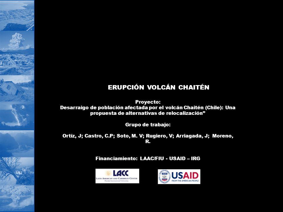 ERUPCIÓN VOLCÁN CHAITÉN Financiamiento: LAAC/FIU - USAID – IRG