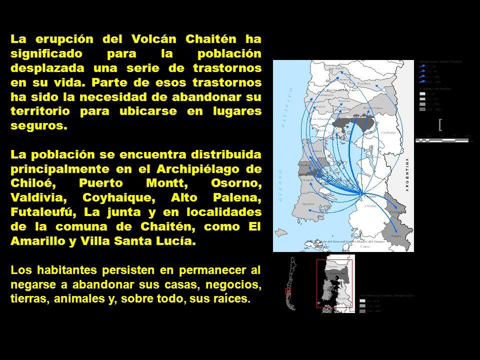La erupción del Volcán Chaitén ha significado para la población desplazada una serie de trastornos en su vida. Parte de esos trastornos ha sido la necesidad de abandonar su territorio para ubicarse en lugares seguros.