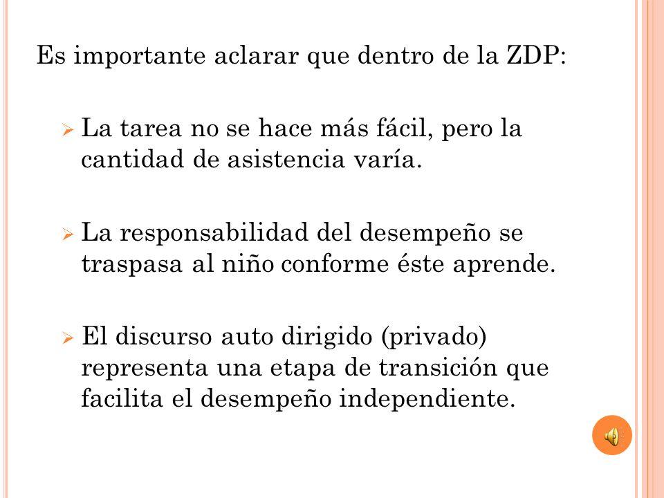 Es importante aclarar que dentro de la ZDP: