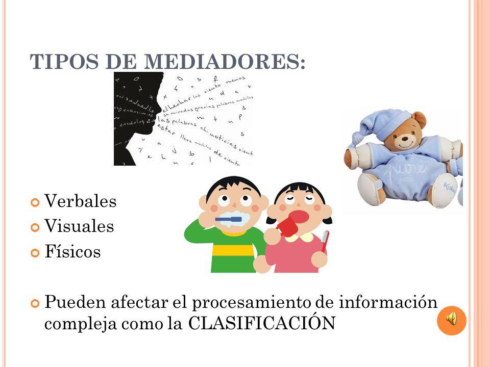 TIPOS DE MEDIADORES: Verbales Visuales Físicos