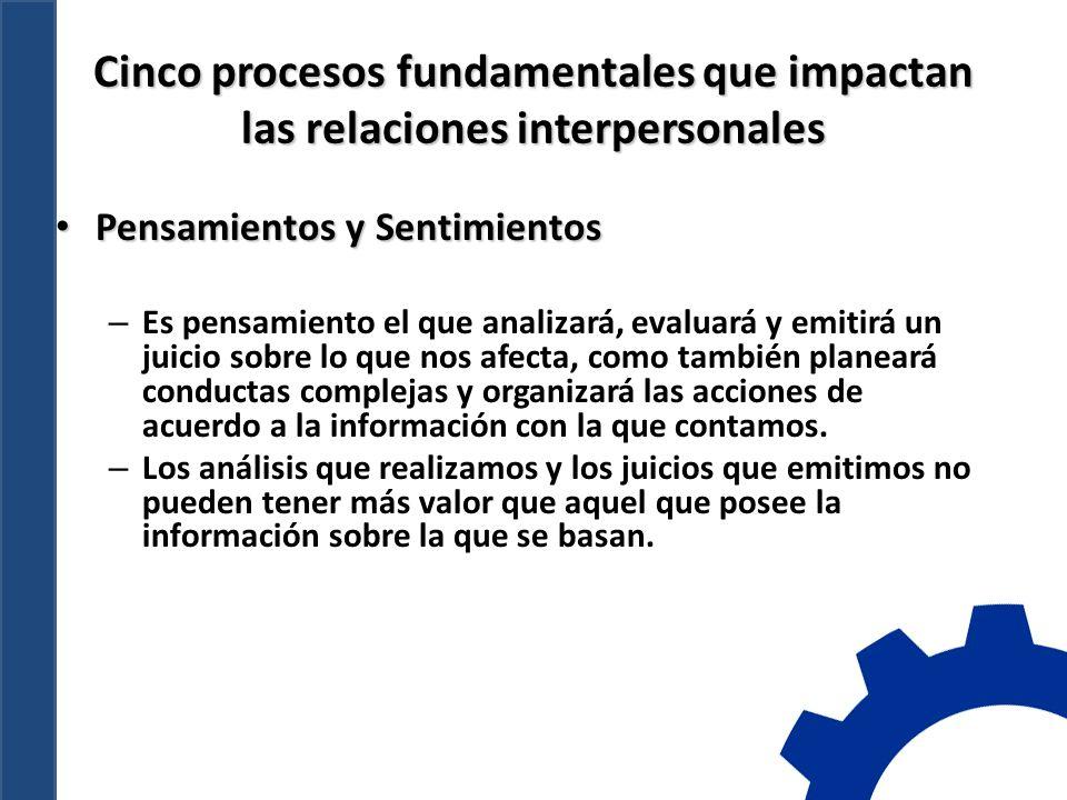 Cinco procesos fundamentales que impactan las relaciones interpersonales