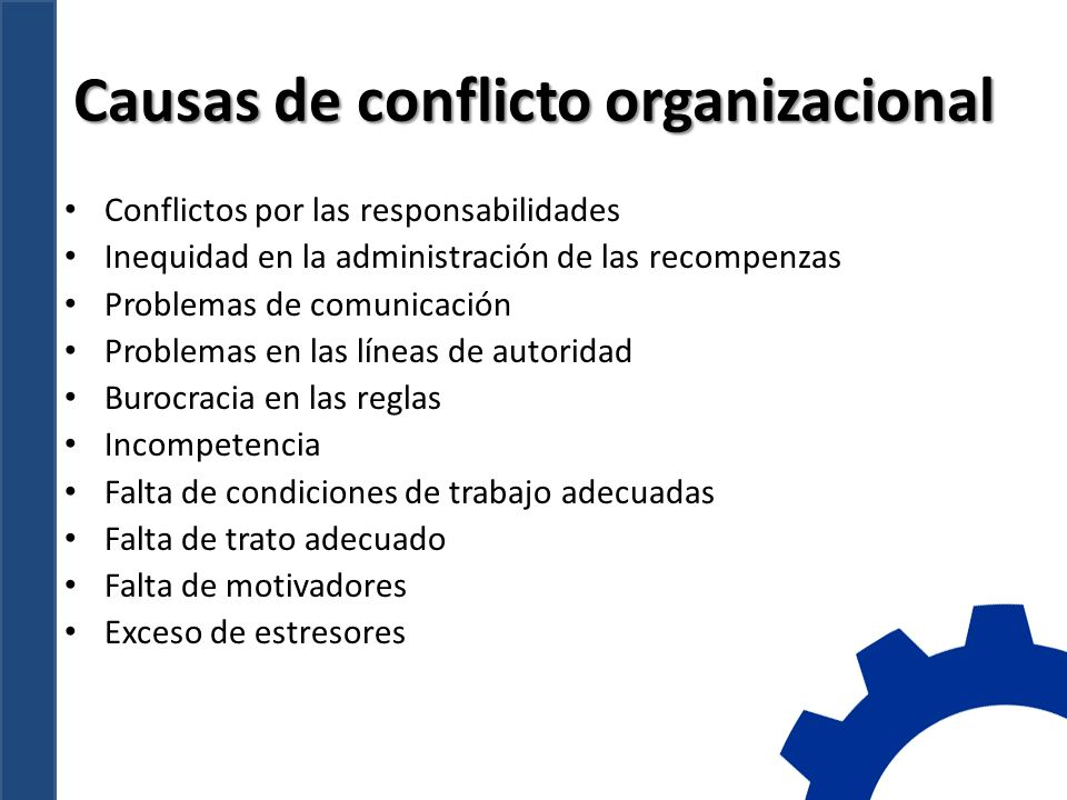 Causas de conflicto organizacional