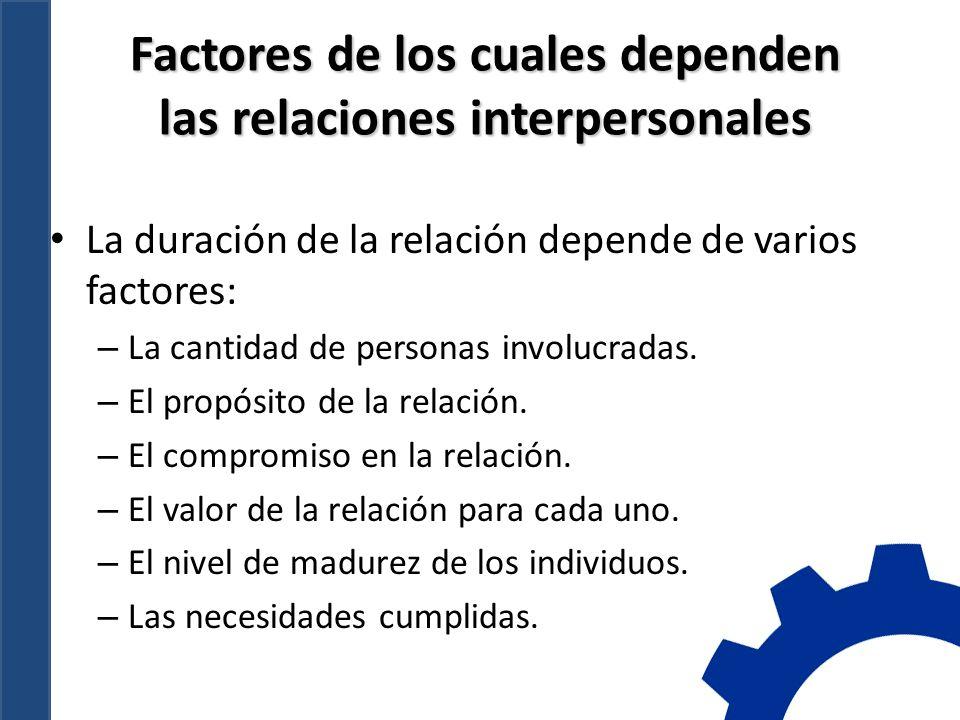 Factores de los cuales dependen las relaciones interpersonales