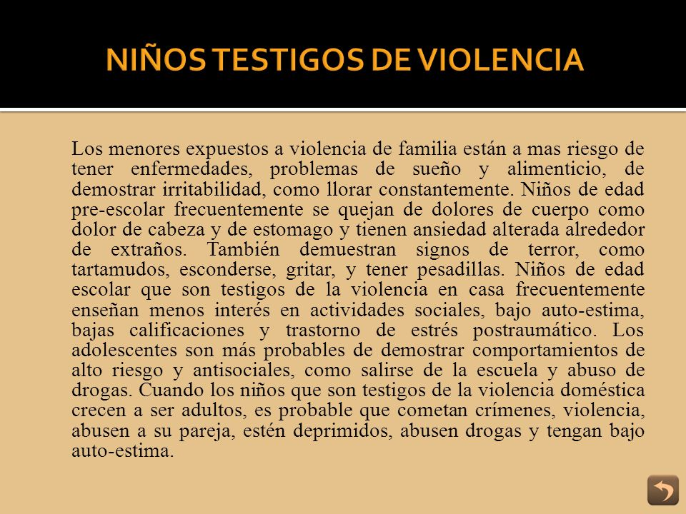 NIÑOS TESTIGOS DE VIOLENCIA