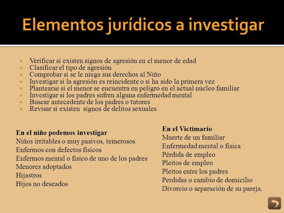 Elementos jurídicos a investigar