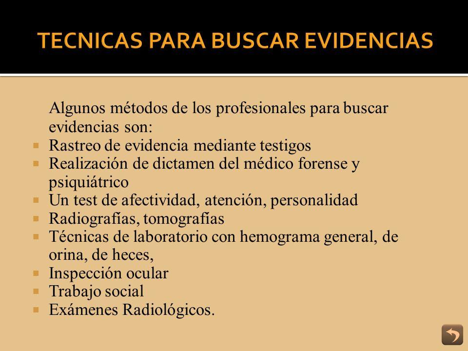 TECNICAS PARA BUSCAR EVIDENCIAS