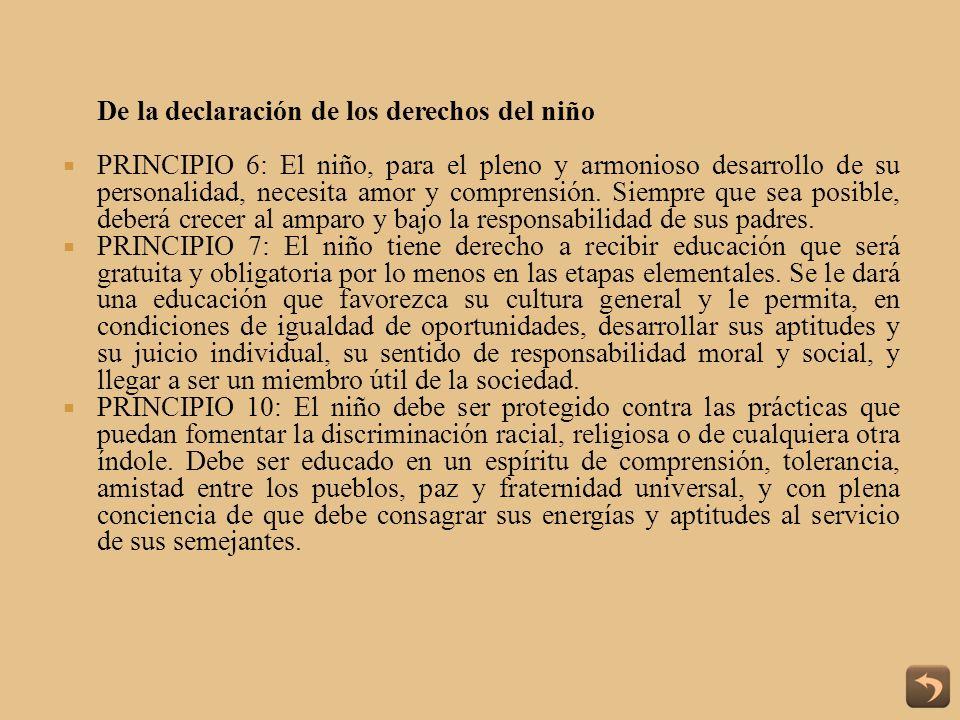De la declaración de los derechos del niño